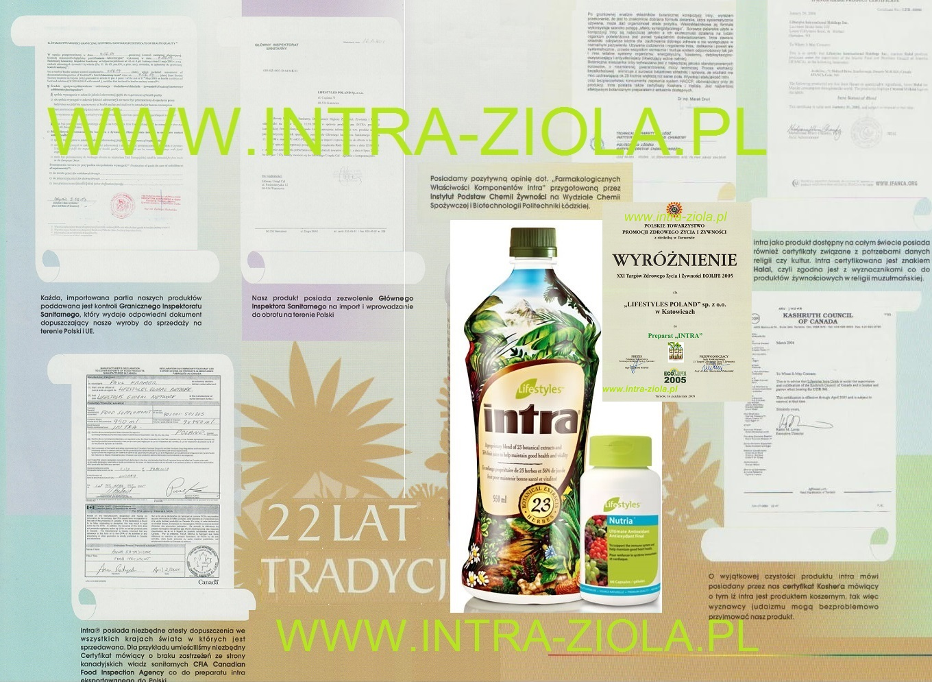 Intra 23 botanical extracts that provide the body with antioxidants, flavonoids, lignins, polysaccharides and other health enhancing nutrients specific to each herbal extract.